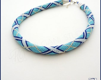 Blue Necklace Bead Crochet Rope Blue White Seed Bead Jewelry, Beadwork. Statement Necklace, Stylish, Something Blue. READY TO SHIP.