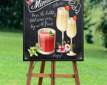 chalkboard mimosa bar sign, printable mimosa bar sign, wedding mimosa bar sign, mimosa bar sign, digital mimosa bar sign, 16 x 20, YOU PRINT