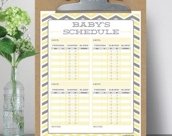 Baby's Schedule - Baby Feeding Schedule - Breast Feeding Schedule - Baby Sleep Schedule - Print at Home - Instant Download