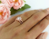 1.25 ctw Halo Wedding Set, Vintage Style Bridal Ring, Man Made Diamond Simulant, Art Deco Engagement Ring, Sterling Silver, Rose Gold Plated