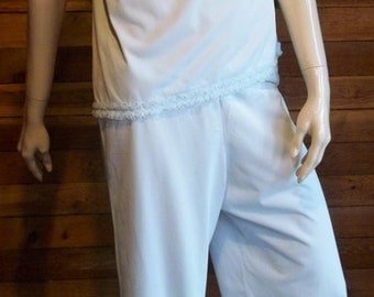 Vintage Lingerie 1960s SHADOWLINE Light Blue Pajama Set ~ Top (32), Bottoms (34) with RUFFLES