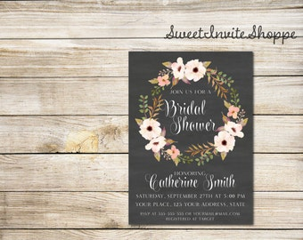 Floral Chalkboard Bridal Shower Invitation, Watercolor Flowers Wedding Shower Invitation, Chalkboard Floral Wreath Bridal Shower Invitation