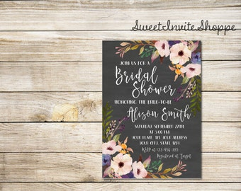 Chalkboard Bridal Shower Invitation, Watercolor Floral Bridal Shower Invitation, Boho Bridal Invitation, Rustic Wood Shower Invitation, DIY