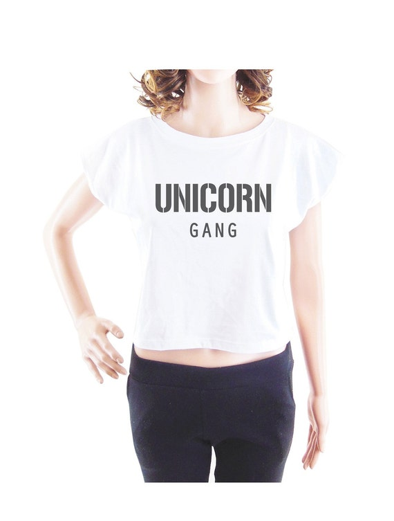 Unicorn Gang tshirt animal tee women t shirt crop top crop shirt size S