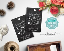 """S'More Love Favor Tag """"Swirly"""" (Printable File Only) S'More Kit Wedding Favor Tag Marshmallow Chocolate Graham Cracker Guest Gift Thank You"""