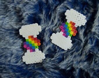 Rainbow 8 Bit Perler Hair Clips