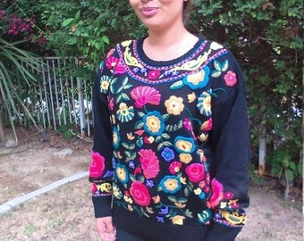 Embroidered beaded sweater,black,green,gold,peach,yellow,sweater,large,large