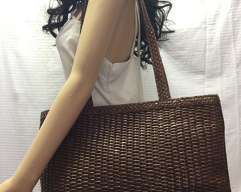 Cee Klein, Woven Leather Tote Bag, Large, Shoulder Bag, Free US shipping