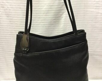 Black Leather Shoulder Bag, Purse