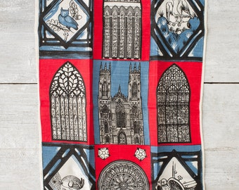 Vintage Kitchen Linen Towel --  York Minster Souvenir -- Ulster Kitchen Towel -- St. Peter's Towel