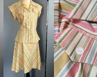 70s 2-Piece Peplum Skirt & Blouse - Pretty Stripes in Muted Pink, Blue, Green, Gold and Beige - Size Large