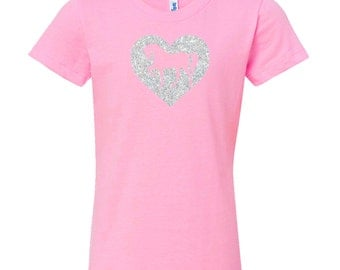 SALE: Pink Horse Shirt for Girls, Sparkle Heart Pony Pink Short Sleeve Tee, Equestrian Clothing, Riding Shirt, Horse Clothes