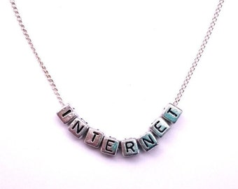 Internet Necklace, Internet Letter Necklace, Letter Necklace