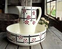 Vintage Wash Basin and Pitcher - French Antique Bathroom Set - Badonviller Japon - Cherry Blossoms Decor - French Vintage Bathroom