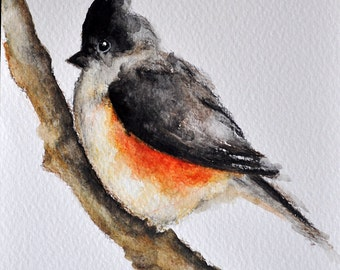 ORIGINAL Watercolor Painting, Neutral Colored Titmouse Bird Painting 5x7 inch