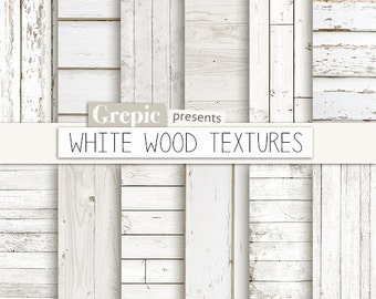 "White wood digital paper: ""WHITE WOOD TEXTURES"" with rustic wood texture and distressed wood grain in white, beach wood background planks"