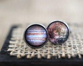 Jupiter and Callisto Cufflinks, Jupiter Cuff Links, Jupiter Cufflinks, Planet Cufflinks, Space Cufflinks, Science Cufflinks, Space Jewelry