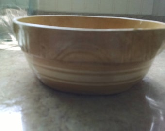 Vintage Yelloware Stoneware Bowl With White Bands #8