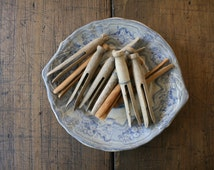 Vintage Wooden Clothes Pins Clothes pegs for Craft or Display Clothespins Clothespegs Bundle 10 Weathered