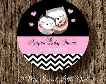 Owl baby shower - pink owl printable - owl sticker - owl thank you tag - owl birthday - owl label - chevron owl tag