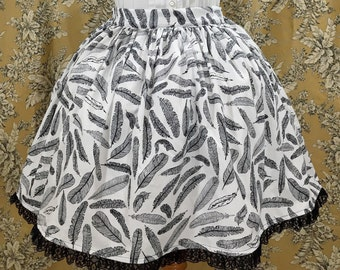 Black and White Feather Lolita Skirt