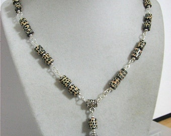 Leopard Print Pendant with matching necklace