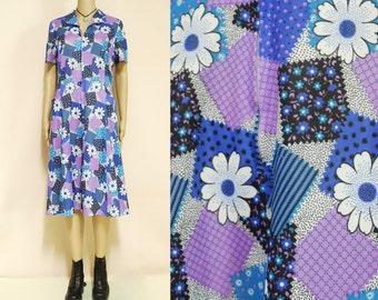 Floral Dress 70s Vintage Purple Pastel Blue Mid Length Retro 1970s Hippie Vtg Flower Power Boho Size M-L