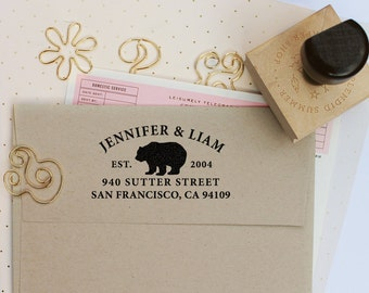 Custom Address Stamp with Bear for weddings, return address stamp, customized gift for holidays, housewarming, wedding