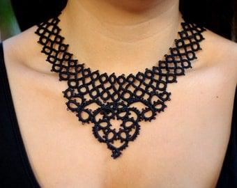 Black lace statement necklace//lace jewelry/statement bib necklace/collar//beaded necklace/Art deco necklace//lace necklace