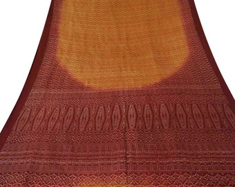 Vintage Orange Dress Pure Silk Fabric Recycle Saree Clothing Wrap Bandhani Printed Decorative Fabric 5Yard PS40552