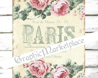 Paris French Shabby Chic Roses Polka Dots Download Transfer Fabric Linen digital collage sheet graphic printable No. 1218