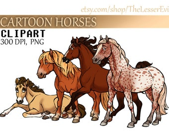 Cartoon Horses Clipart, Digital Illustration, Horse Clip Art, Hand Drawn Horse, Equine Stock Illustration, Commercial use