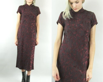 90s Asian Floral Midi Dress with Mock Turtleneck Oriental Inspired