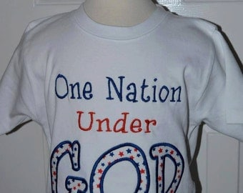 Personalized 4th of July Patriotic One Nation Under GOD Applique Shirt or Onesie Girl Boy