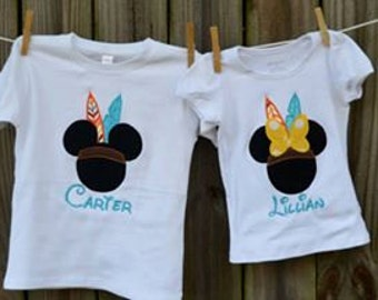 Personalized Thanksgiving Mouse Head with Feathers Applique Shirt or Onesie Girl