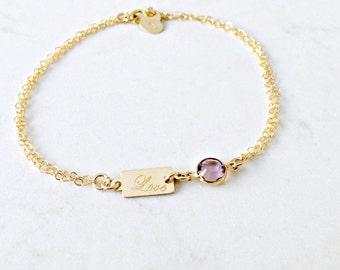 Personalized Birthstone Bracelet heart tag custom handstamped initial engraved love tag 14k gold filled swarovski graduation bridesmaids