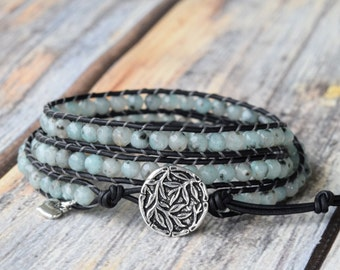 Mint Wrap Bracelet, Wrap Bracelet, Beaded Wrap Bracelet, Wrap Bracelets, Leather Wrap Bracelet, Beaded Leather Wrap, 3x Wrap