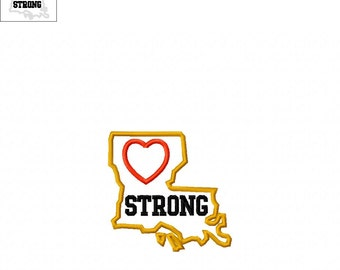 Louisiana Strong State with Heart Applique - 3 Sizes Included - Embroidery Design -   DIGITAL Embroidery DESIGN