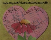 Heart magnet withh flower that has heart petals, Gift, love, hand painted original design