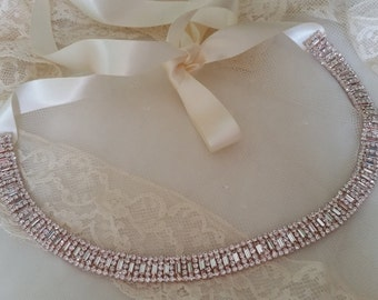 ROSE GOLD BRIDAL Belt Wedding Belt Art Deco Thin Narrow Bridal Wedding Sash Off White Navy Pink Champagne Satin Ribbon Baguettes Couture