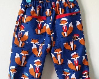 Fox trousers, boys trousers, baby boy, foxes, kids clothing, uk