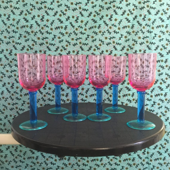 Funky pomo plastic wine glasses pink blue teal 80s pastel - Funky champagne flutes ...