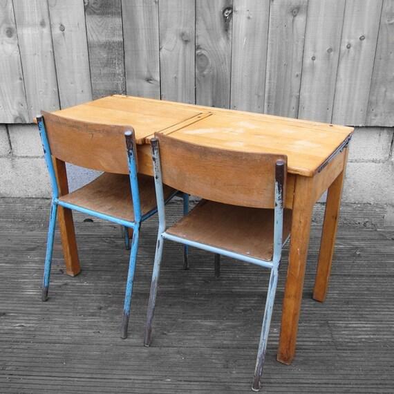 Vintage Double School Desk Set 1960s Industrial Childs Blue