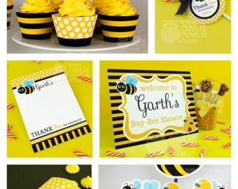 Bumble Bee BABY Shower Party Printable Package & Invitation, INSTANT DOWNLOAD, You Edit Yourself with Adobe Reader