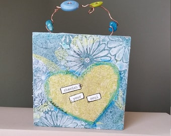 Original Mixed Media Art; Cherish Your Soul; 4x4 Wood Block, Gift for Her; One of a Kind, Collage Art, Home Decor