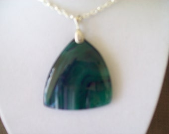 Green/purple Agate  Stone Pendant
