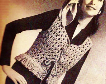 Fringed Vest Vintage Crochet Pattern Instant Download