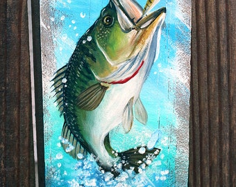 Reclaimed Wood Fence Original Hand Painted Panel-Bass Fish Jumping
