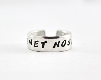 Temet Nosce Ring, Know Thyself Ring, Latin Words Ring, Aphorism Ring, Personalized Hand Stamped Aluminum Ring, Inspirational Quote Ring