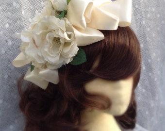 Mexican Wedding headpiece. White roses wedding headpiece.